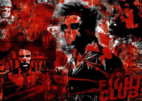 1990's Movie - FIGHT CLUB MURAL BLOOD canvas print - self adhesive poster - photo print